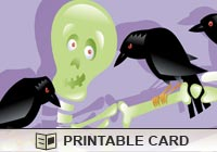 Halloween Skelly and Crows Ecard