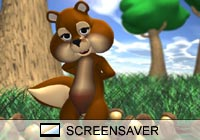 Cartoon Chipmunk and Acorns Screen Saver