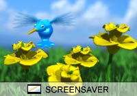 Cartoon Hummingbird Flowers Screen Saver
