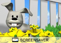 Cartoon Spring Bunny Screen Saver