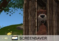 Cartoon Bear Outhouse Screen Saver