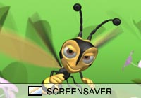 Cartoon Bee and Flowers Screen Saver