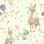 Animals and People Llama Party Tiled Background